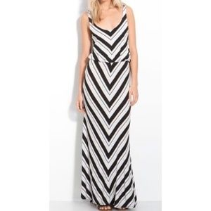Ella Moss Ringo Chevron Blouson Maxi Dress Large
